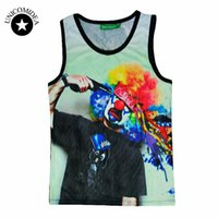 Wholesale Graphic Tees Tanks - Wholesale- New men women's 3D tank tops graphic print a clown shot himself suicide novelty funny sleeveless tee shirt vest summer tops