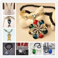 Wholesale Gold Fish Long Necklaces - 16 Styles Elegant Long Necklace Elephant Monkey Fox Fish Flower Water Drop Crystal and Pearl Women Pendant Necklace Sweater Chain Jewelry