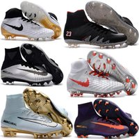 Wholesale Soft Leather Kids Shoes - Top Quality Kids Mercurial Superfly FG CR7 Magista Obra Soccer Shoes Cristiano Ronaldo Cleats Neymar Footbal Shoes Cheapest Soccer Boots