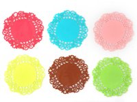 200pcs / lot 10cm Lace Flower Oco Design Round Silicone Table Heat Resistant Mat Cup Coffee Coaster Cushion Placemat Pad