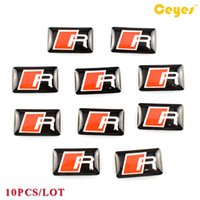 Wholesale Funny Lines - Personalized Epoxy car logo sticker for Audi R line Badge Funny Car Plastic Drop Sticker Car Styling 10PCS LOT