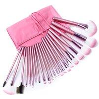 Wholesale Professional 22 Pcs Makeup Brush - hot sale makeup tools Artificial Fibre cosmetic portable pu bag professional 22 pcs set pink makeup brushes