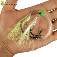 Wholesale bait rigging - 10pcs Fish Skin Bait Sabiki Rigs 2 Arm Big Sport Circle Hook Sea Fishing Light Yellow Flasher Bait Fishing Rigs For Herring