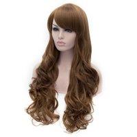Wholesale Color Hair For Brown Skin - 75Cm Skin-top Heat Friendly Synthetic Hair Dip Dye Dark Brown Long Wavy Sexy for Regular Wear or Cosplay Peruca Peluca Perruque