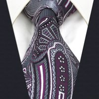 Wholesale Silk Ties Men Classic - C3 Black Purple Paisley Silk Mens Necktie Tie Wedding Fashion Classic Ties for male Dress extra long size