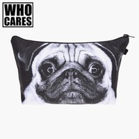 Wholesale Dogs Cosmetic - Wholesale- Pug dog 3D printing Pencil bags cosmetic bag organizer 2017 Fashion New makeup bag trousse de maquillage necessaire women pouch