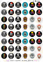 Wholesale Skull Cabochons - BoYuTe (48 pieces lot) 12mm Round Pattern Cabochons Mix Skull Skeleton Sign Image Glass Cabochon For Earring Blank Settings xl3223