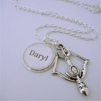 5b59db02e 12pcs lot The Walking Dead Inspired Daryl Bow and arrow charm necklace  silver tone