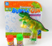 Wholesale Bubble Gun Toy Wholesales - Dinosaur Bubble Shooter Gun Bubble Machine Dinosaur Toys Gun LED Lights and Dinosaur Sound with 2 Bubble water kids toys KKA1445