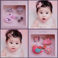 Wholesale Kids Hair Style Crown - 8 styles Kid hair accessories Sets Sequin Crown Bunny Ear Bow Flower boutique Hair bows Toddler barrettes Girls Hair Pin Set cute hairs Clip