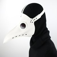 Wholesale Bird Costume Adults - Adult Game White PU Leather Steampunk Steam Punk Gothic Bird Beak Mask Goggles Plague Doctor Cosplay Hood Hallowee Role Play Costume