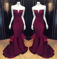 Wholesale Purple Falbala - Burgundy Sweetheart Arabic Prom Dresses Mermaid Real Image Zipper Falbala Ruffle Sweep Train Modest Formal Plus Size Evening Gowns