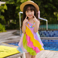 Wholesale Rainbow Dress For Baby Girl - Summer 2017 dresses for girls fashion children's rainbow dress lace kids dresses for girls baby sundress