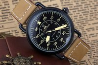 Wholesale Vintage Bell Watch - Men's Luxury Brand Automatic Self Wind Mechanical Stainless Steel Brown Leather Strap Bell Vintage WW1-92 Heritage Military Watch