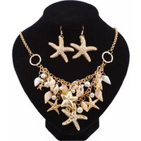 Wholesale Sea Style Gold Color Big Starfish Statement Necklaces Crystal Choker Conch Shell Necklaces Pendants For Women Gifts