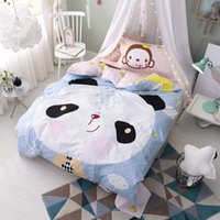 Wholesale Child Comforters - 100% Cotton Cute Animal Monkey Panda Bedding Sets Comforters Pillow Sham Bed Sheets Quilts Cover Children Teen Christmas Gift Floral Striped