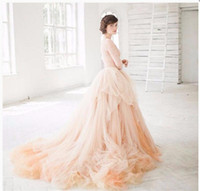 Wholesale Puffy Dresses For Women - Long Skirts With Train Puffy Ball Gown Tulle Skirts For Women High Waist 2017 Custom Made Tutu Bridal Dresses