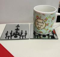 Wholesale Glass Party Favor Coasters - Wholesale Islamic Wedding souvenirs favour Glass Cup Coaster Tablemat Cup Mat Casamento Kids Birthday party 100pcs(50sets)