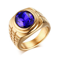 anneaux mâles magiques achat en gros de-Meaeguet Magic vintage anneaux de pierre pourpre pour les hommes en argent plaqué or bague en acier inoxydable charmant pour les hommes RC-191