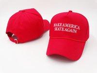Wholesale America Skate - Make America Skate Again Caps Casquette Peaked Cap Strap Back Fashion Headwear Men Women Summer Beach Sun Hats Cool Sports Hat