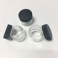 Wholesale glass food containers lids - Food Grade Non-Stick 5ml Glass Jar Tempered Glass Container Wax Dab Jar Dry Herb Container with Black Lid VS 6ml Glass Jar