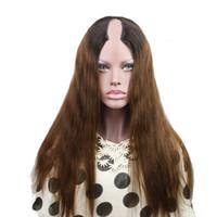 orta kısım bakire peruk toptan satış-T1b / 4 Iki Ton Ombre U Bölüm İnsan Saç Peruk Düz Hint Virgin İnsan Saç Orta Sol Sağ U Parçası Doğal Görünümlü