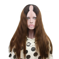 ingrosso parrucche in parrucca naturale-T1b / 4 Ombre U parrucche dei capelli umani di parte di U di tono di due capelli umani vergini indiani diritti Parte centrale sinistra destra U naturale