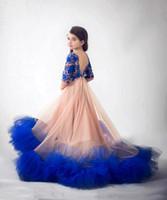 robes mignonnes pour juniors achat en gros de-Bébé mignon bleu dentelle Toddler Pageant robes demi manches étage longueur robe de demoiselle d'honneur junior pour les mariages fête d'anniversaire robe enfants