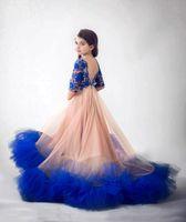 ingrosso vestito blu dal merletto del manicotto lungo-Cute Baby Blue Lace Pageant Abiti Mezze maniche lunghezza del pavimento Long Junior abito da damigella d'onore per matrimoni festa compleanno abito bambini