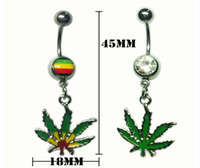 Wholesale Wholesale Jamaican Jewelry - Pot Leaf Jamaican Gem Belly Ring Navel Ring Body Piercing Jewelry Belly Bars Rhinestones Belly Button Rings