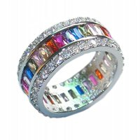 Wholesale Kunzite Rings Sterling Silver - Eternal SAPPHIRE RUBY PERIDOT KUNZITE TOPAZ 925 Sterling Silver Engagement Wedding Rings for Women Men size 5 6 7 8 9 10