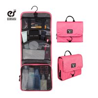 Wholesale Wholesale Mesh Cosmetic Organizer - Wholesale- ecosusi Hanging Toiletry Kit Travel Bag Cosmetic Bags Carry Case Makeup Packing Organizer with Breathable Mesh Pockets