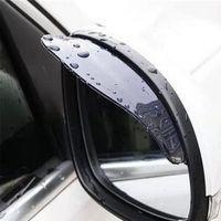 Wholesale Eyebrow Stickers - Wholesale- Black 2pcs PVC Car Rear view Mirror sticker rain eyebrow weatherstrip auto mirror Rain Shield shade cover protector guard