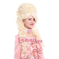 Frete GrátisMarie Antoinette Victorian Baroque Lady Beige Long Wave Fancy Cosplay Wig ZY34A