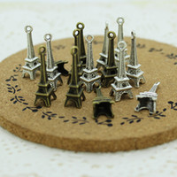 Wholesale Eiffel Tower Bell - Sweet Bell 100 pieces 8*23mm Two color Antique Metal Alloy 3D Mini Eiffel Tower Charms Pendants Jewelry Making D0043