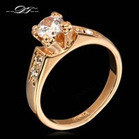 Wholesale Cluster Engagement Ring Rose Gold - AAA+ CZ Diamond 4 Claw Wedding Rings Wholesale Silver Color 18K Rose Gold Plated Fashion Brand Engagement Jewelry For Women Gift DFR051