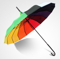 princesa paraguas al por mayor-Envío gratis Rainbow Design Princess Royal Sun Umbrella Lady Pagoda Long-Handled Umbrella Christmas Gift ZA1171