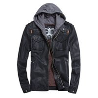 Wholesale Hoody Leather Jackets - Wholesale- Black Brown Faux Leather Jacket Men  PU Leather Hoody Moto Jacket Man  Bomber Motorcycle Jacket Hoodie