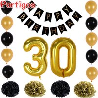 Wholesale Photo Banners - Happy Birthday Paper Black Banner Garland Paper Flower Number 30Gold Latex Balloons Photo Background Party Home Birthday Decor
