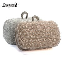 Wholesale Ivory Pearl Wedding Handbag - Wholesale- 2017 Women Evening Clutch Bag Gorgeous Pearl Crystal Beading Bridal Wedding Party Bags CrossBody Handbags Mobile Phone New Style