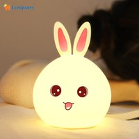 Atacado- Lumiparty USB Recarregável Pat Sensor Night Light 3 Modos 7 Cor Changing Rabbit Night Lamp Luz de cabeceira Light Nursery Baby