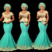 Wholesale ladies pink bandage dresses resale online - Aso Ebi Style mint African peplum Prom Gown Nigerian Style Lady evening Party Dress With Short Sleeves Formal Party Dress Mermaid Occasion