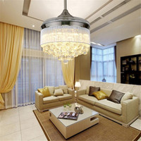 Wholesale European Led Crystal Chandeliers - Led Ceiling Fans Light 110-240V Invisible Blades Ceiling Fans Modern Fan Lamp Living Room European Chandelier Ceiling Light 36   42 Inches