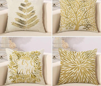 Wholesale Decorative throw pillows cover Modern simple pillow Popper geometry plant noble gold trees leaf cotton linen sofa cushion cover