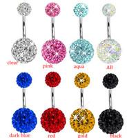 Wholesale Disco Ball Rings - free shipping ,CF111 wholesale 30pcs lot mix 10 color body jewelry shamballa freido disco ball navel ring belly bar piercing