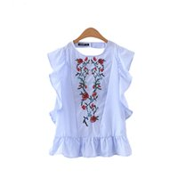 Wholesale Cut Shirt Styles - women sweet ruffles floral embroidery beading shirts sleeveless back cut out blouse casual European style tops