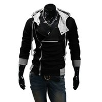 assassins creed hoodie gratis al por mayor-Venta al por mayor- Otoño Invierno Oblicuo Zipper Casual Slim manga larga hiphop Assassin Creed Hoodies Sudadera prendas de abrigo prendas de vestir envío gratuito