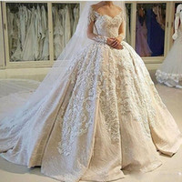 Wholesale Usa Length - USA Canada Vintage Ball Gown Wedding Dresses 2k17 Illusion Neckline Sheer 3D Appliques Long Sleeves Wedding Dress Customized Bridal Gowns