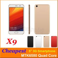 Cheap 5 polegadas 3G Smart Cell Phone Android 6.0 MTK6580 Quad Core Mobile Phone Dual SIM Camera WCDMA desbloqueado Smart Wake Smartphone pela DHL X9