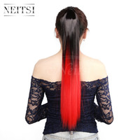 Wholesale Red Synthetic Ponytail - Neitsi 22inch 1pc Red# 105±5g Straight Synthetic Ponytails Highlight Synthetic Hairpiece Clip in on Hair Extension